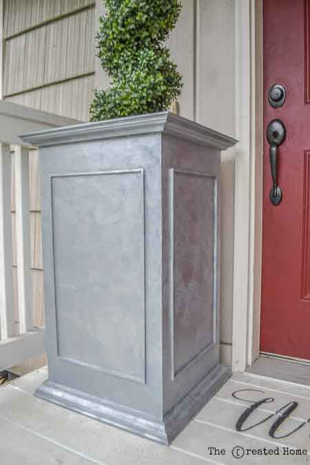 Faux zinc planter and many other wooden planter ideas