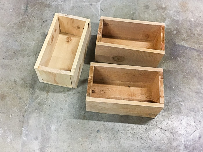 Wooden planter boxes for the tiered planter.