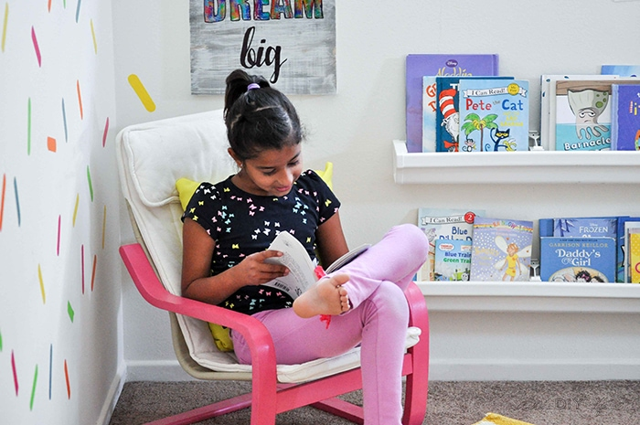reading nook idea for colorful playroom