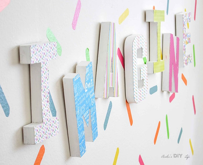 Easy playroom decor idea. Paper mache letter decor