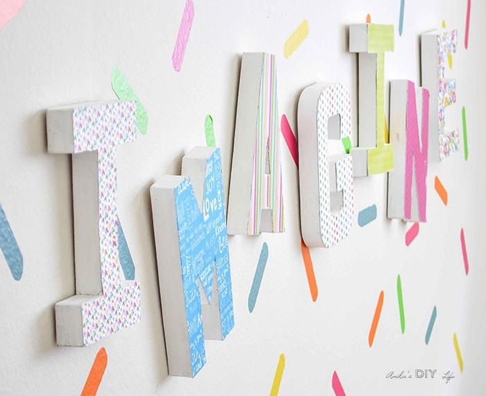 Easy playroom decor idea. Paper mache letter decor