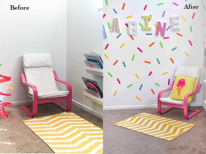 Add lots of fun and color to a playroom reading nook with these easy ideas