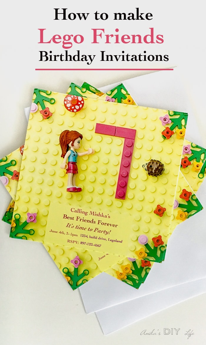 How to make Frugal Lego Friends Party Invitation - step by step tutorial