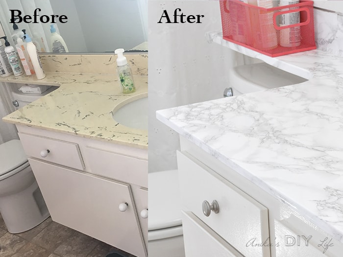 Contact paper countertop before and after.