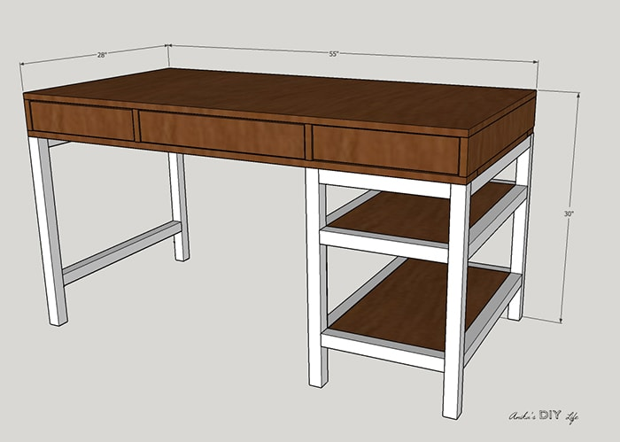 How to build a DIY desk with storage - FREE plans
