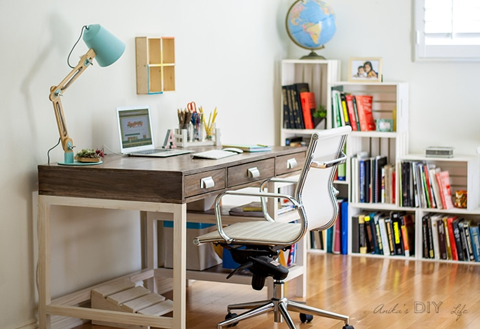 DIY desk and office makeover. Step by step tutorial and plans to make a DIY desk