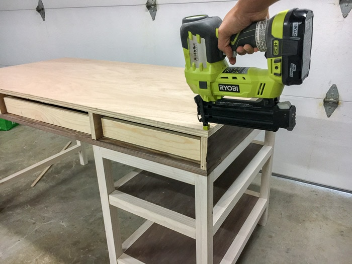 building a DIY desk with drawers and shelves