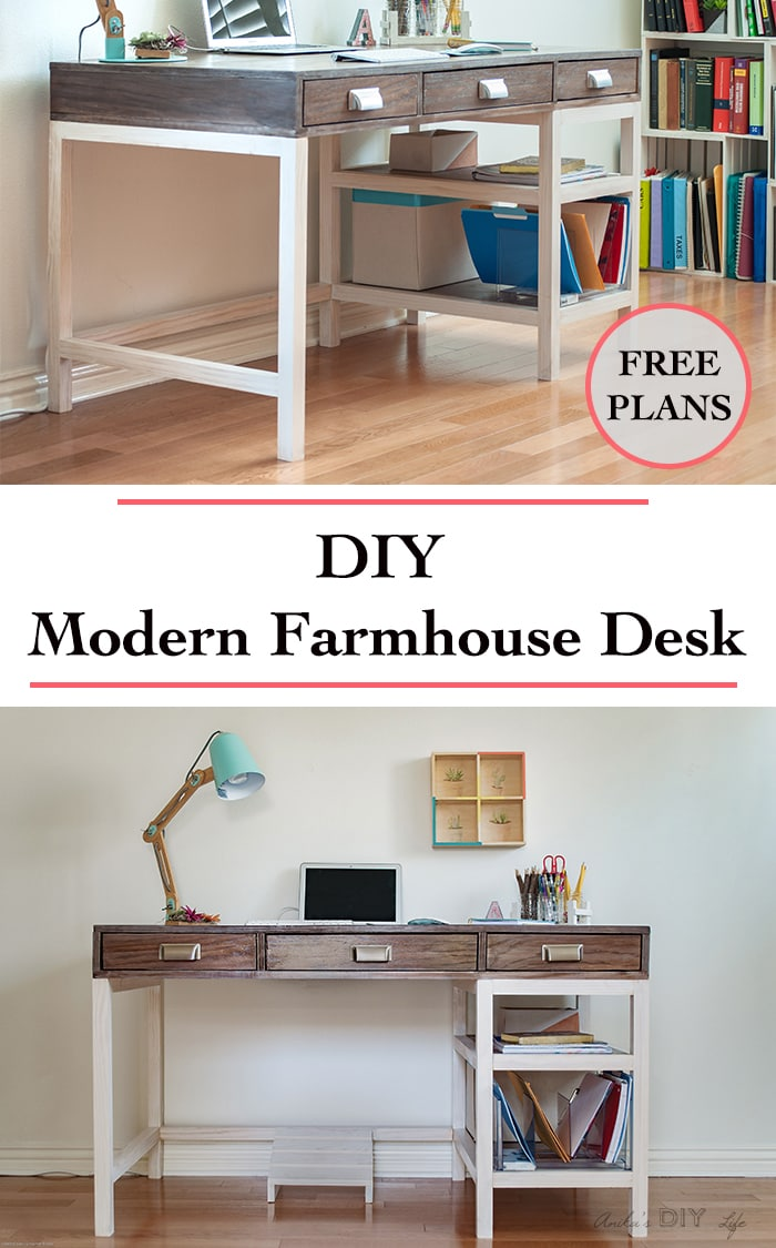 DIY Modern Farmhouse Desk (Plans and video) - Anika's DIY Life