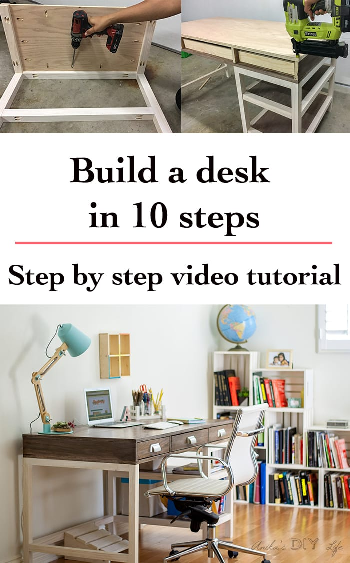 EASY DIY desk with lots of storage | Free plans and step by step video and tutorial