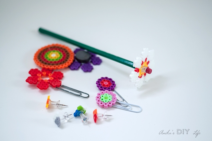 Easy back to school teacher gift idea - melty beads paper clips and pushpins | Perler bead idea
