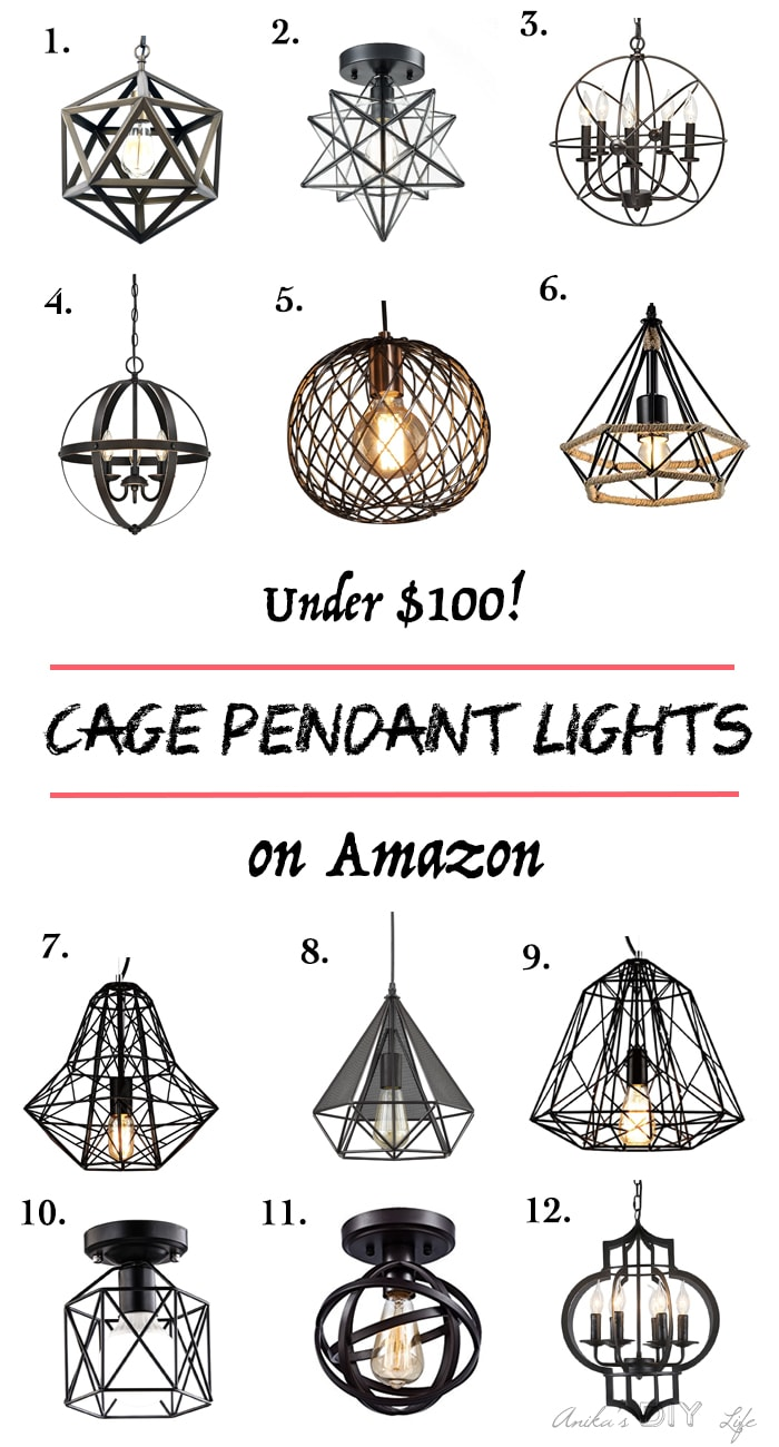 Affordable Cage pendant lights. All less than $100! Can you believe these awesome choices!