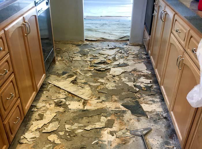 Removing flooring to add wood look vinyl