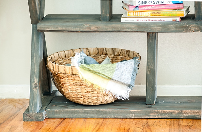 An easy X-leg console table for the entryway!