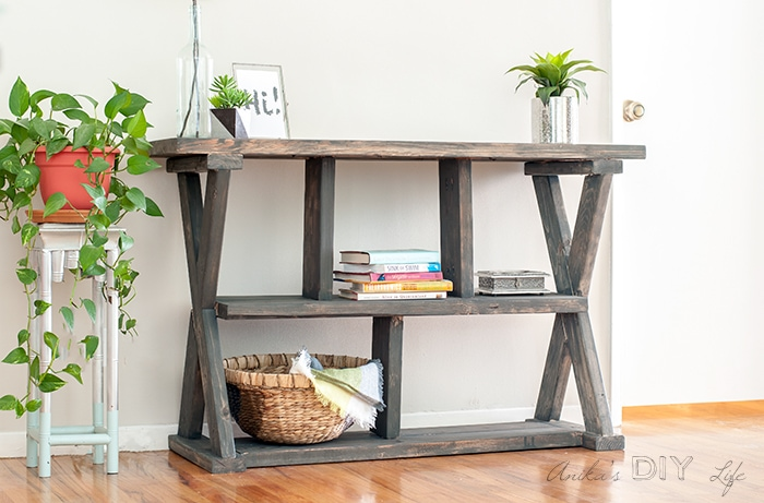 Easy DIY X-leg console table with plans!