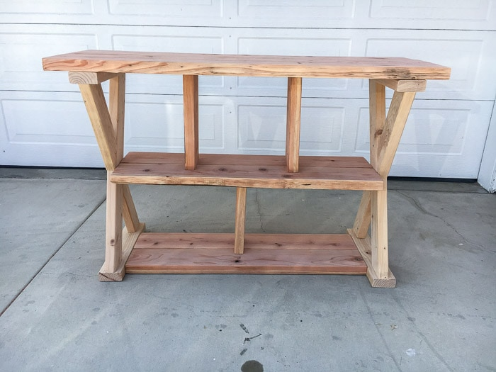 Love this easy X-leg Console table with plans