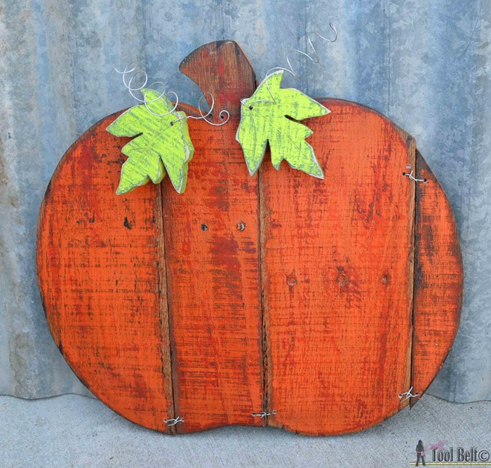 Pumpkin made from pallet wood.