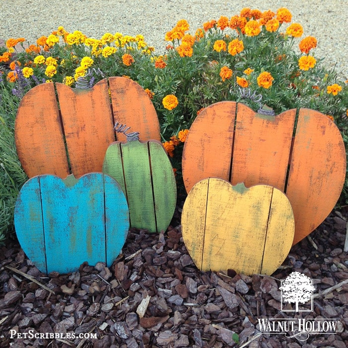 Pre-made wooden pumpkins painted in distressed colors.