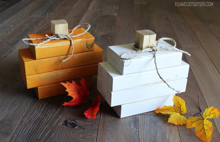 DIY scrap wood pumpkins using 2x4 wood