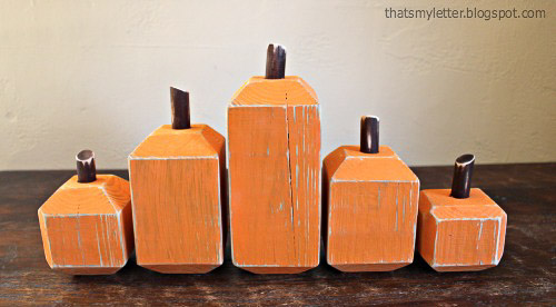 Love these wood pumpkins - - check out 20 other ways to create wood pumpkins!