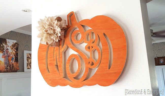 Scrolled monogrammed pumpkin made using plywood