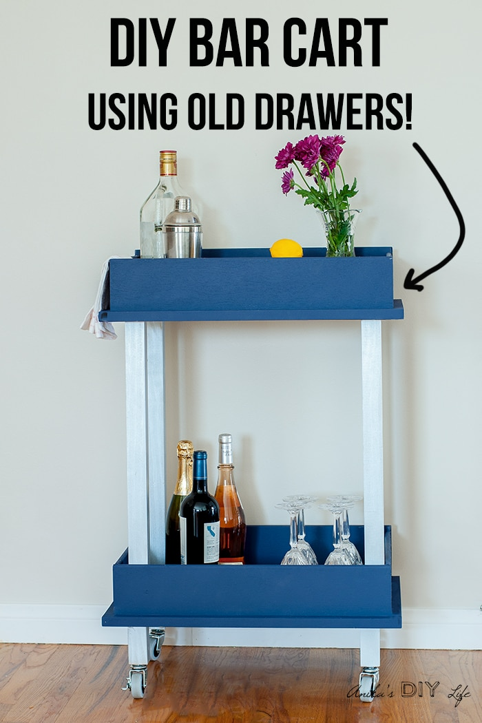 DIY bar cart made from upcycled drawers with text overlay