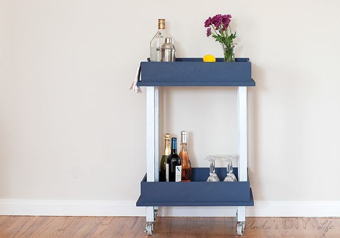 DIY bar cart from old drawers