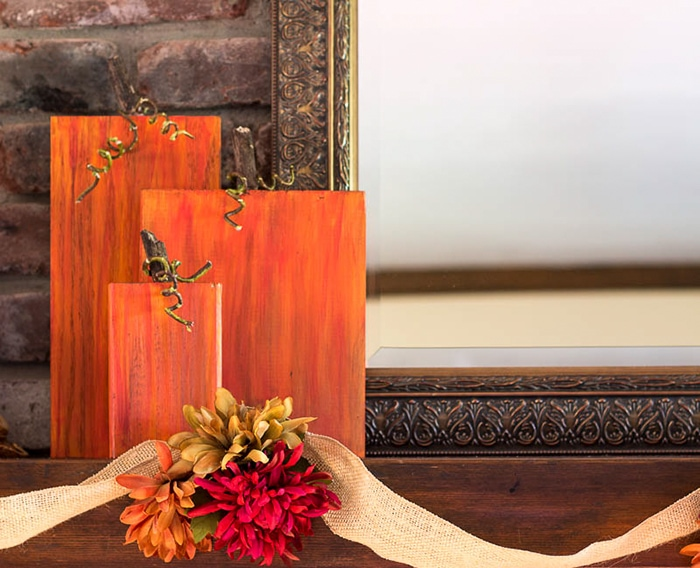 Easy Rustic pumpkins on a mantle.