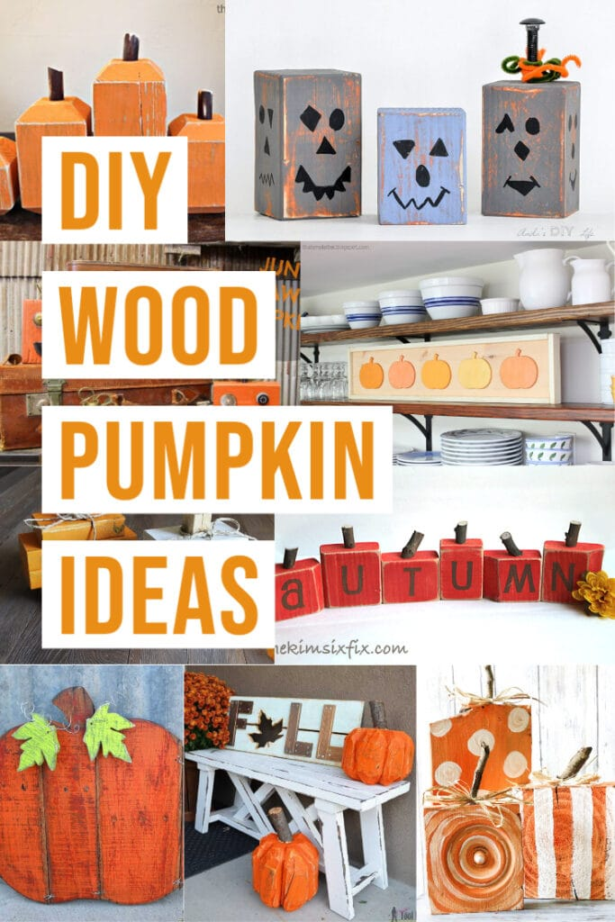collage of DIY wooden pumpkins with text overlay