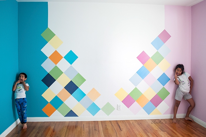 how to create a fun colorful geometric accent wall