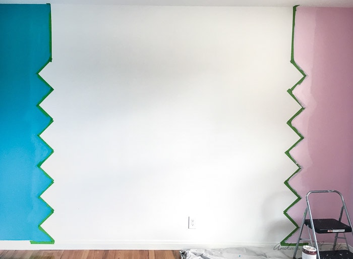 How to start painting a geometric colorful accent wall