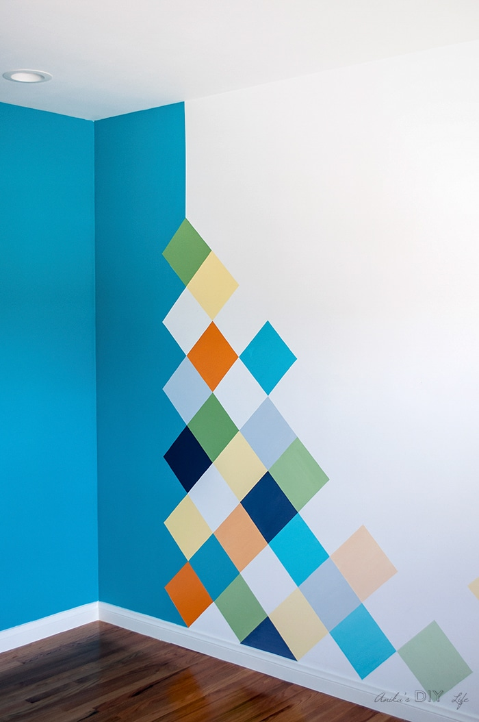 Colorful boys room accent wall