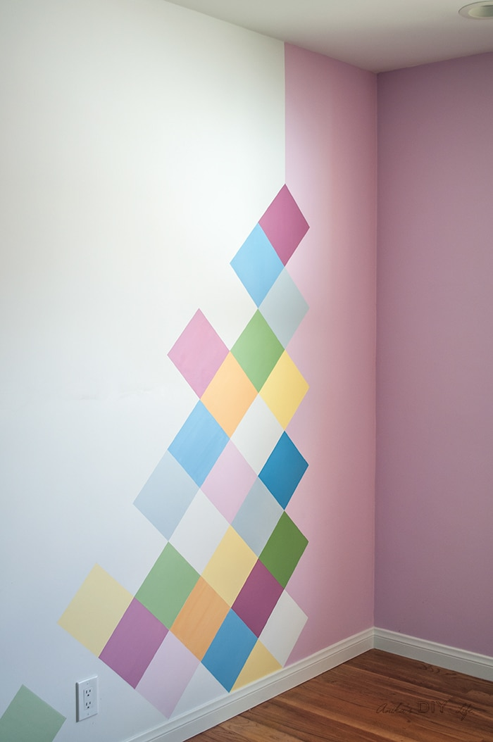 colorful girls accent wall idea