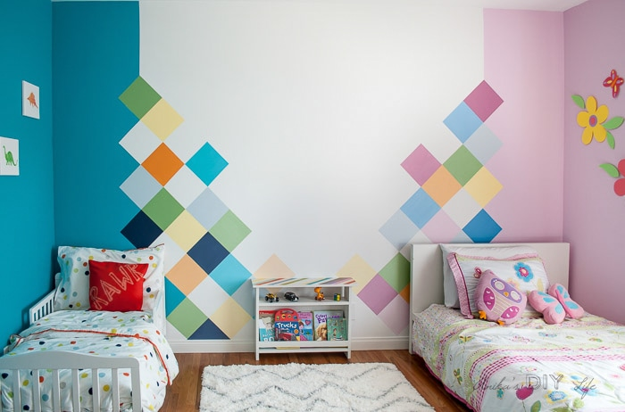 Shared boy girl room colorful accent wall idea