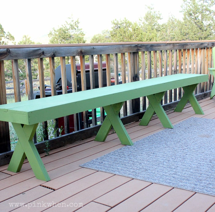 Easy DIY $20 outdoor patio bench with X-legs
