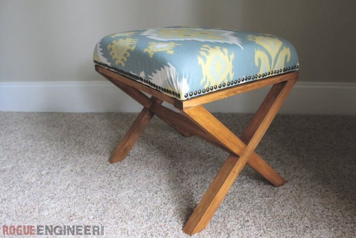 Easy upholstered X-leg bench | Check out all the X-leg furniture ideas