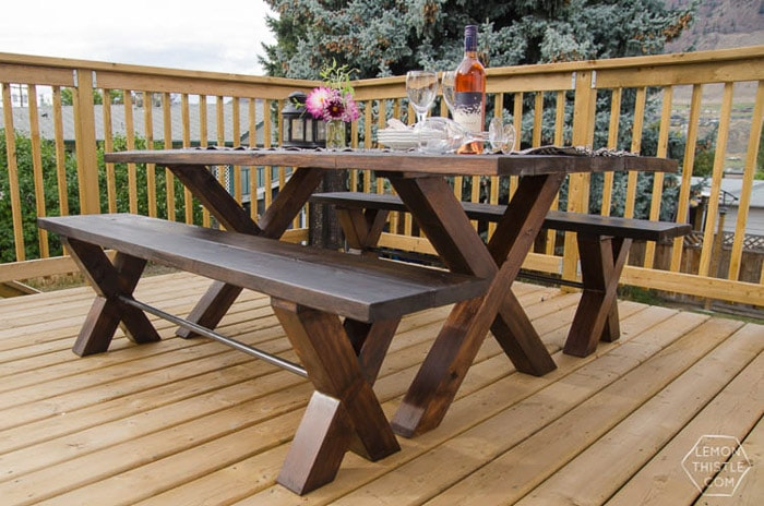 X-leg patio table plans DIY