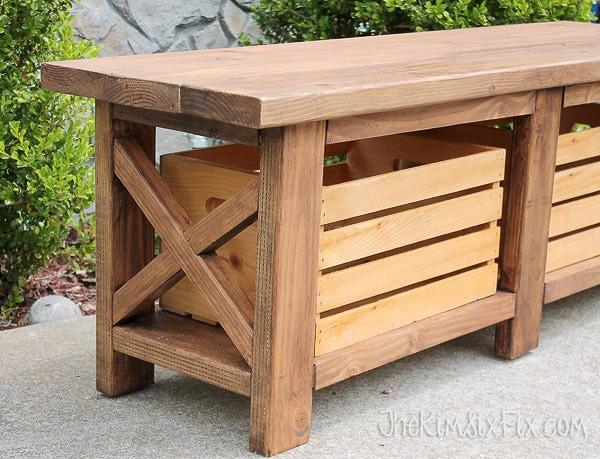 DIY X-leg wooden bench | outdoor bench with storage plans