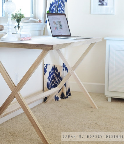 DIY Campaign style desk with X-legs