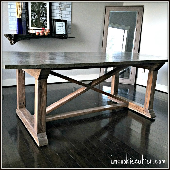 DIY COncrete dining table with X-legs