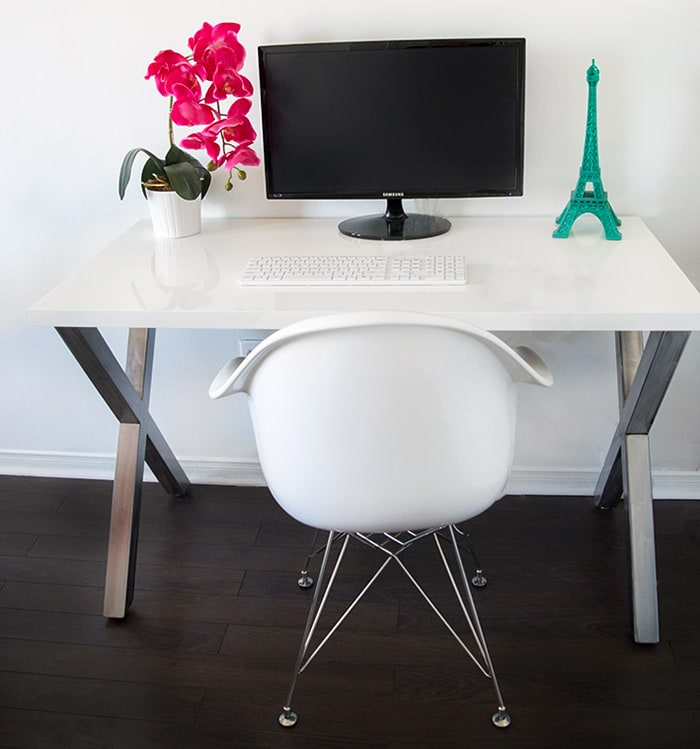 DIY X-leg desk with metal legs