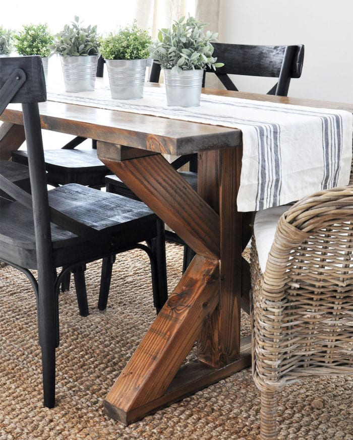 X-brace dining table | industrial farmhouse | many more X-leg furniture ideas
