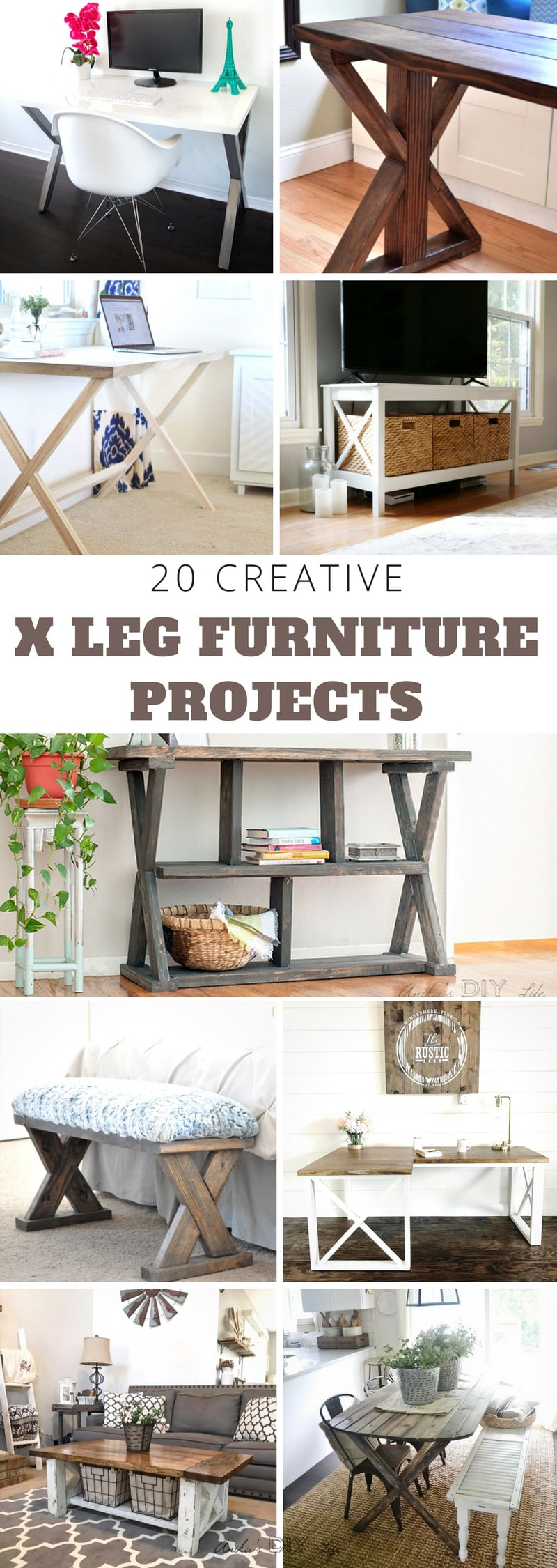 So amazing! All these projects are so creative |X-leg furniture |Farmhouse table and bench ideas | DIY woodworking #woodworking #DIYfurniture #DIYdesk #diydiningtable