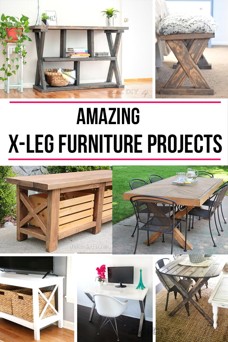 So many choices!! If you love X-leg furniture, don't miss this! |Farmhouse DIY furniture #diyfurniture #woodworking #freeplans #diytables