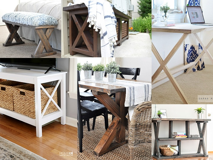 20+ DIY X-leg Furniture projects to inspire you! If you love the look of X-leg, don't miss this collection of DIY X-leg tables, benches and desks!