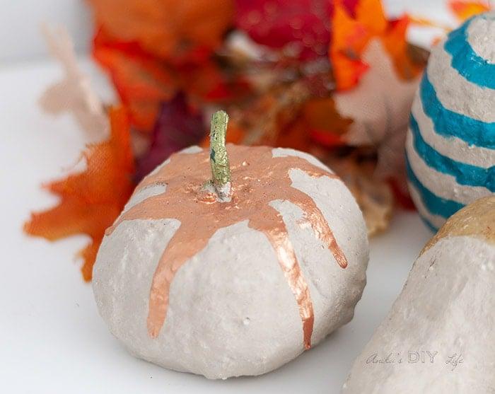 closeup of DIY concrete pumpkin