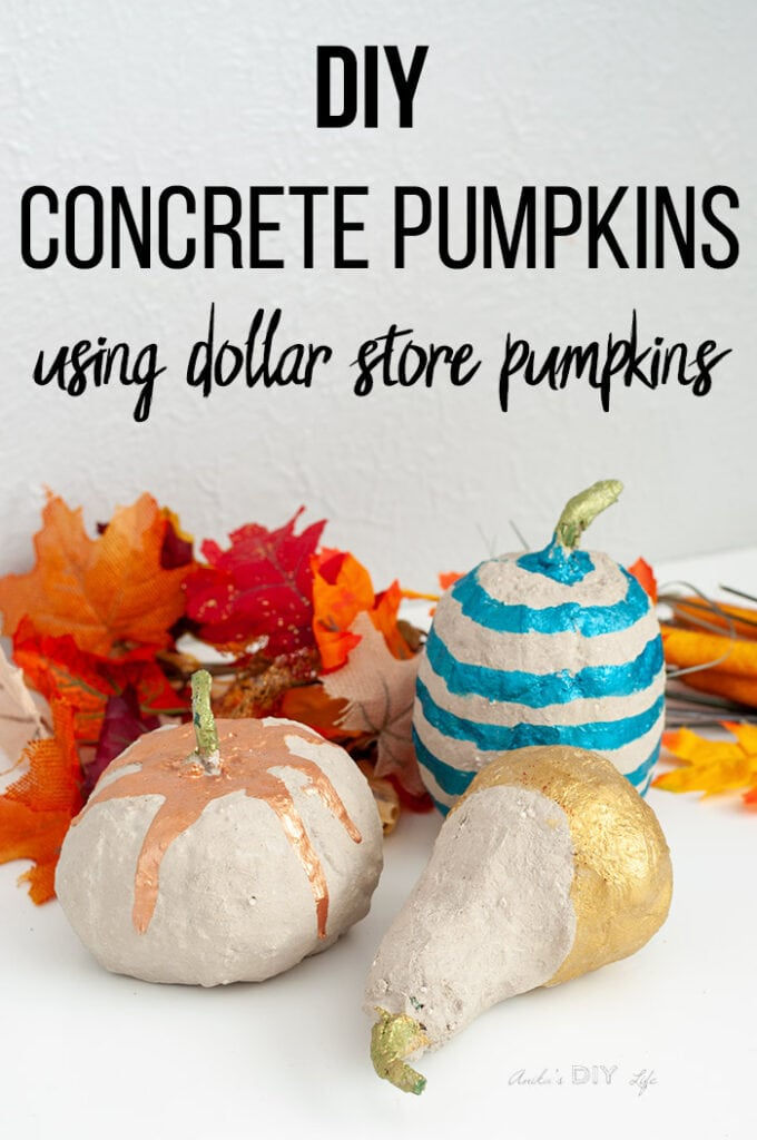 Colorful DIY concrete pumpkins with fall leaves and text overlay