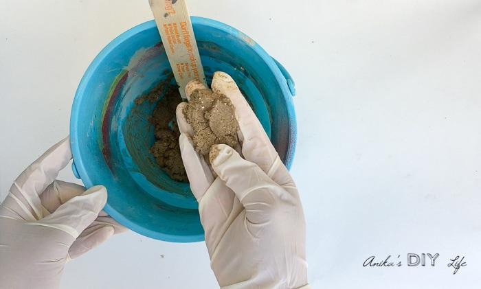 Concrete mixture consistency to make hand formed concrete pumpkins
