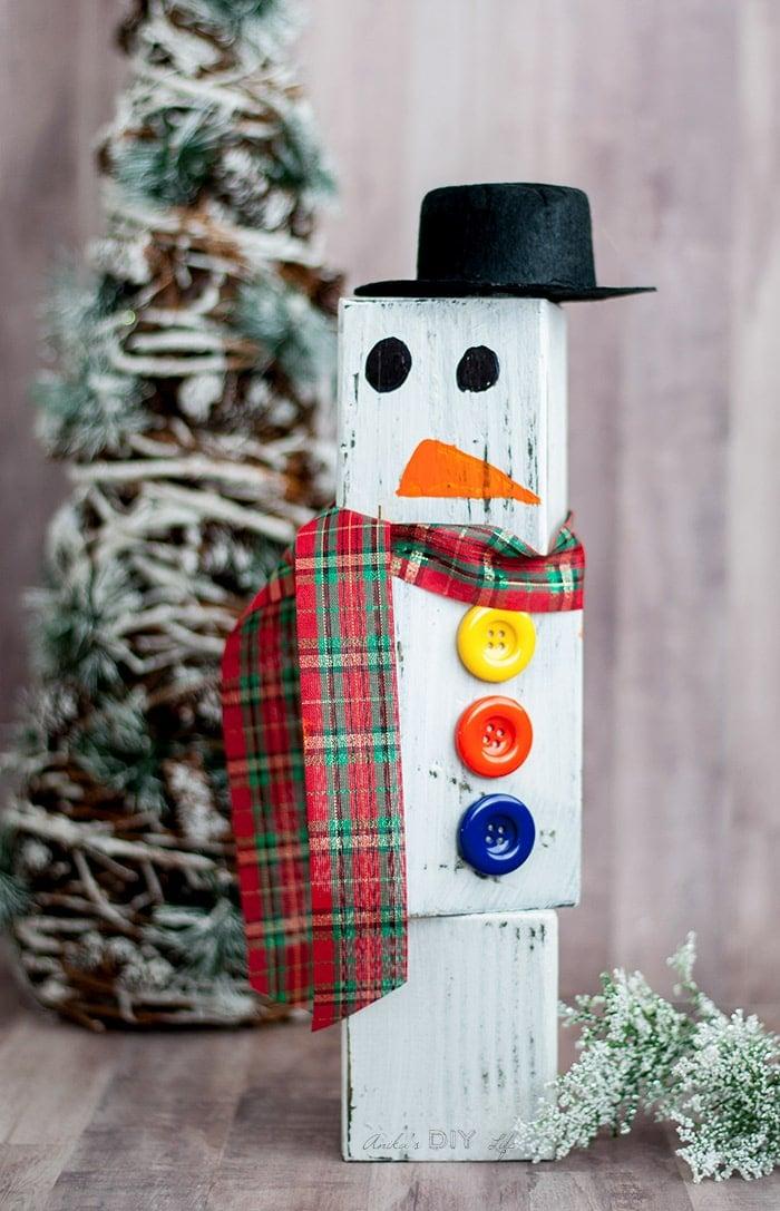 Diy Wood Block Snowman Anikas Diy Life