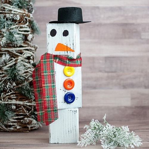 DIY Wood Block Snowman