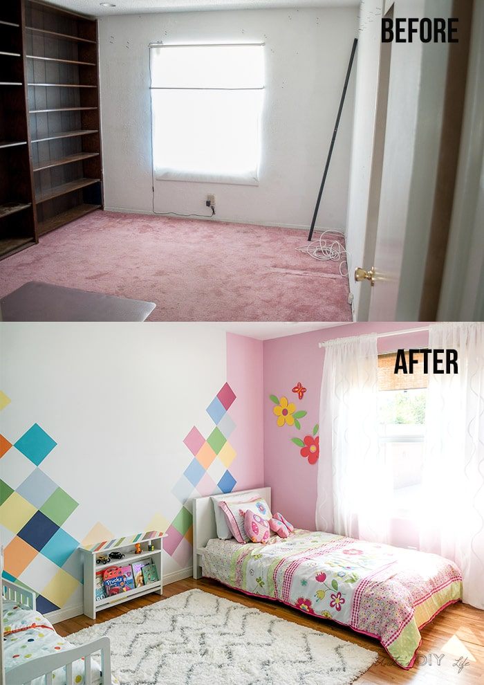 Before and after of a kids room